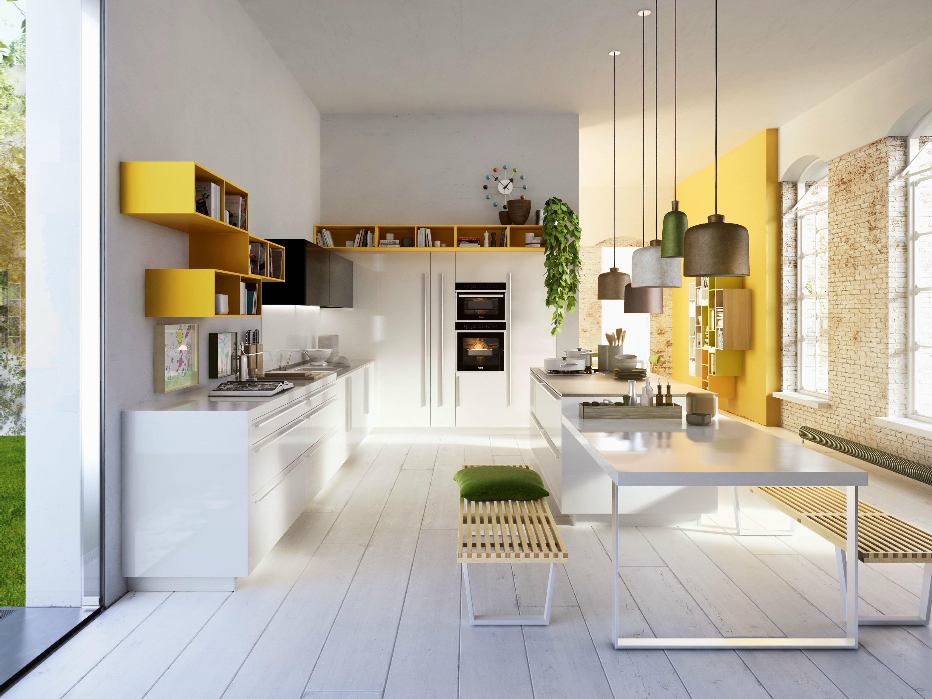 Cuisine blanche mur jaune: cuisine mur c f bb etagere murale avec ...